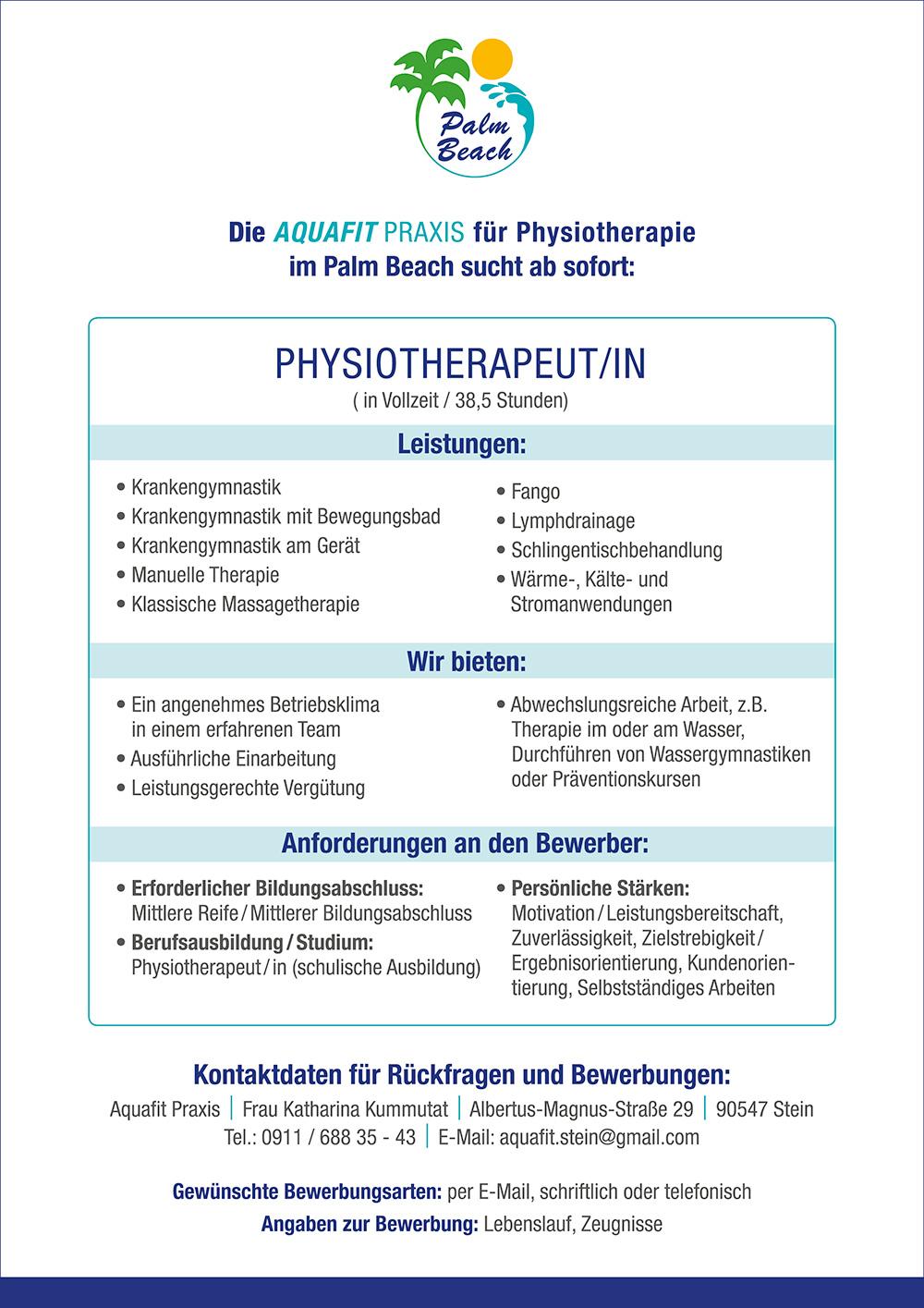 PalmBeach Stellenanzeige Physiotherapeut/in